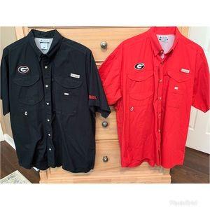 EUC Columbia PFG Bahama UGA Georgia Bulldog shirts